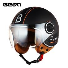 BEON摩托车复古头盔男女四季通用电动车半盔机车个性酷安全帽冬季