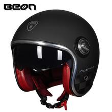 BEON复古头盔男女四季摩托车哈雷半盔双镜片电动机车安全帽冬季