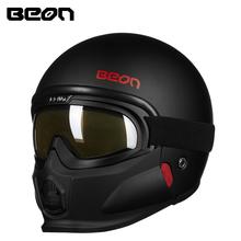 BEON摩托车复古哈雷头盔男女个性组合半盔带风镜防雾四季通用冬季