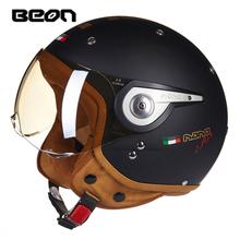 BEON复古头盔男女四季通用半盔覆式摩托车电动机车安全帽冬季保暖