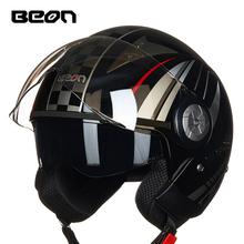 BEON双镜片摩托车头盔男女四季半盔覆式电动机车安全帽夏季夏盔