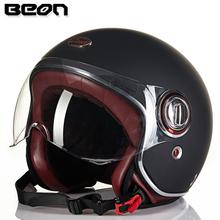 BEON复古摩托车头盔玻璃钢电动车半盔覆式冬季保暖四季男女夏季